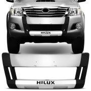 Overbumper Front Bumper Hilux SR SRV 2012 a 2015 Preto com Prata