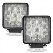 Par Farol de Milha Auxiliar Quadrado 9 LEDs 10/30V 2400 Lumens 27W  6000K Universal