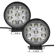 Par Farol de Milha Auxiliar Redondo 9 LEDs 10/30V 2400 Lumens 27W  6000K Universal