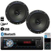 """Radio FM MP3 Bluetooth + Par Alto Falante 6"""" 100W RMS Hurricane"""
