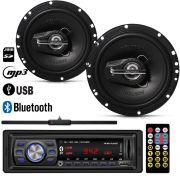 """Radio MP3 Player Usb + Par Alto Falante 6"""" 100W RMS + Antena"""