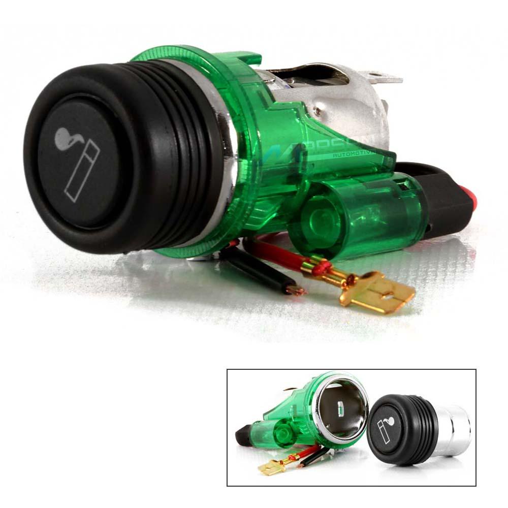 Tomada 12V Led Verde Para Celular GPS Com Acendedor Cigarros