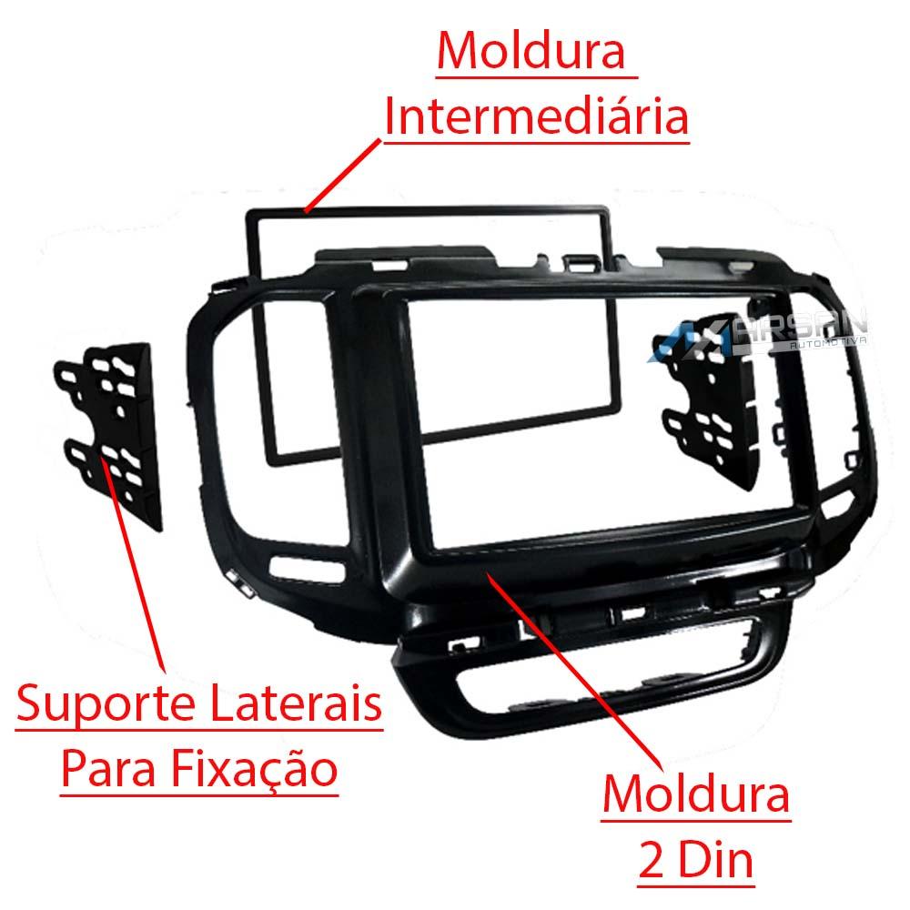 Moldura 2 DIN Black Piano Radio DVD Multimidia Fiat Toro