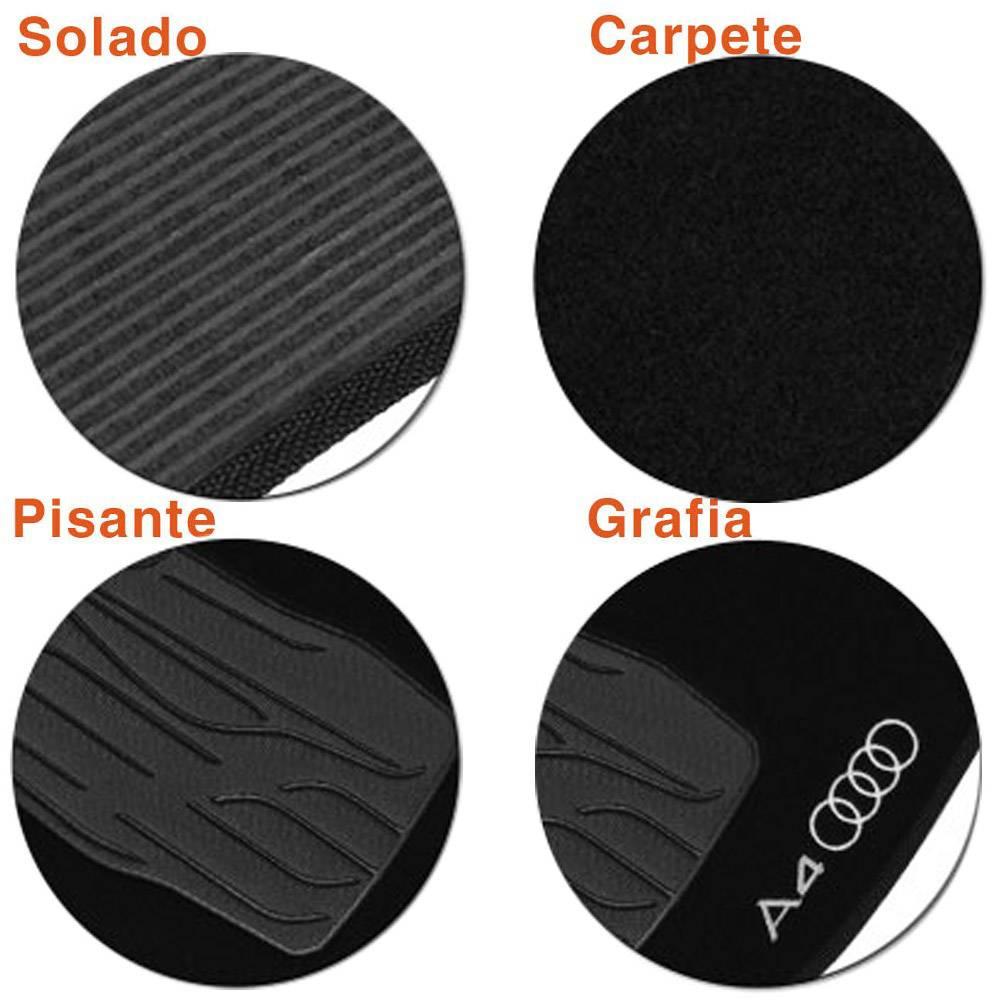 Tapete Carpete Preto Logo Bordado Audi A4 2009 até 2016
