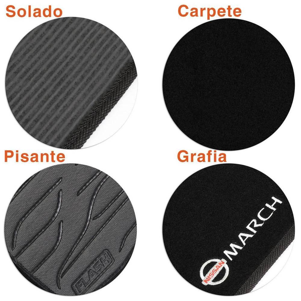 Tapete Carpete Preto Logo Bordado Nissan March 2011 até 2017