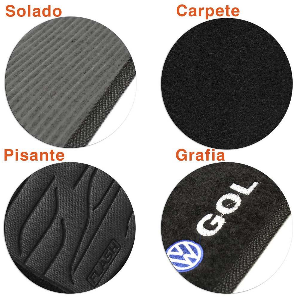 Tapete Carpete Preto (Bordado Logo e Modelo) Gol 1982 a 1995