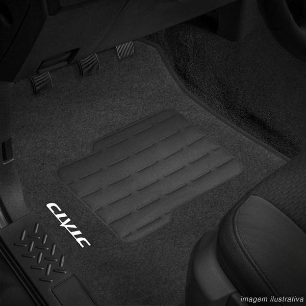 Tapete Carpete Grafite (Bordado Logo e Modelo) Civic 2012 a 2014 - 3 Peças