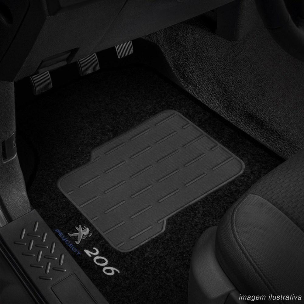 Tapete Carpete Preto (Bordado Logo e Modelo) Peugeot 206 1999 a 2010