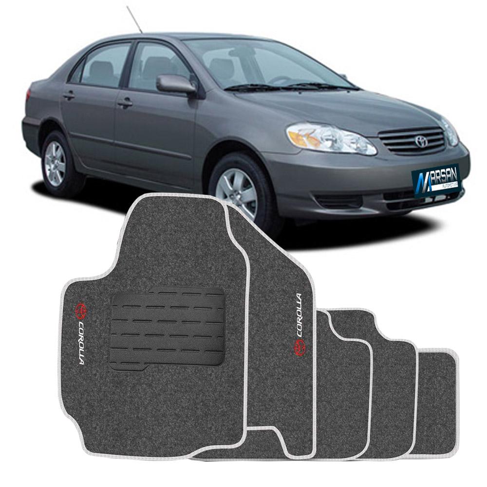 Tapete Carpete Grafite (Bordado Logo e Modelo) Corolla 2003 a 2008