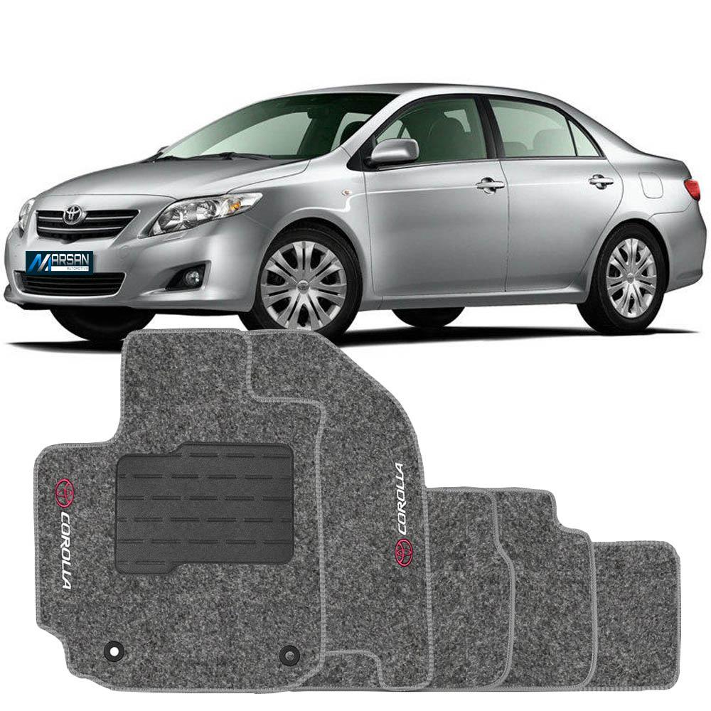 Tapete Carpete Grafite (Bordado Logo e Modelo) Corolla 2009 a 2012