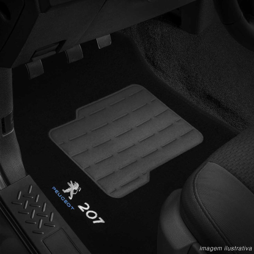 Tapete Carpete Preto (Bordado Logo e Modelo) Peugeot 207 2009 a 2013
