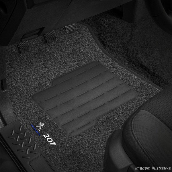 Tapete Carpete Grafite (Bordado Logo e Modelo) Peugeot 207 2009 a 2013