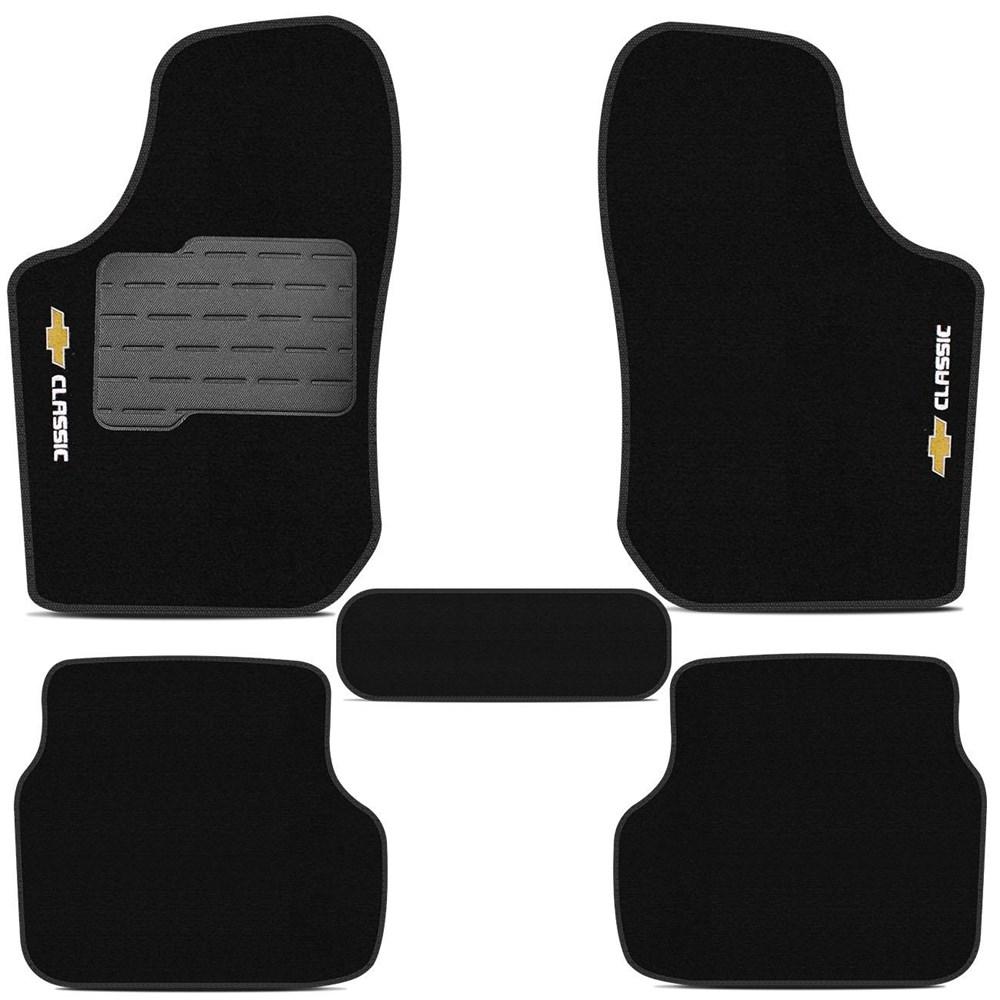 Tapete Carpete Preto (Bordado Logo e Modelo) Corsa Classic 2002 a 2015