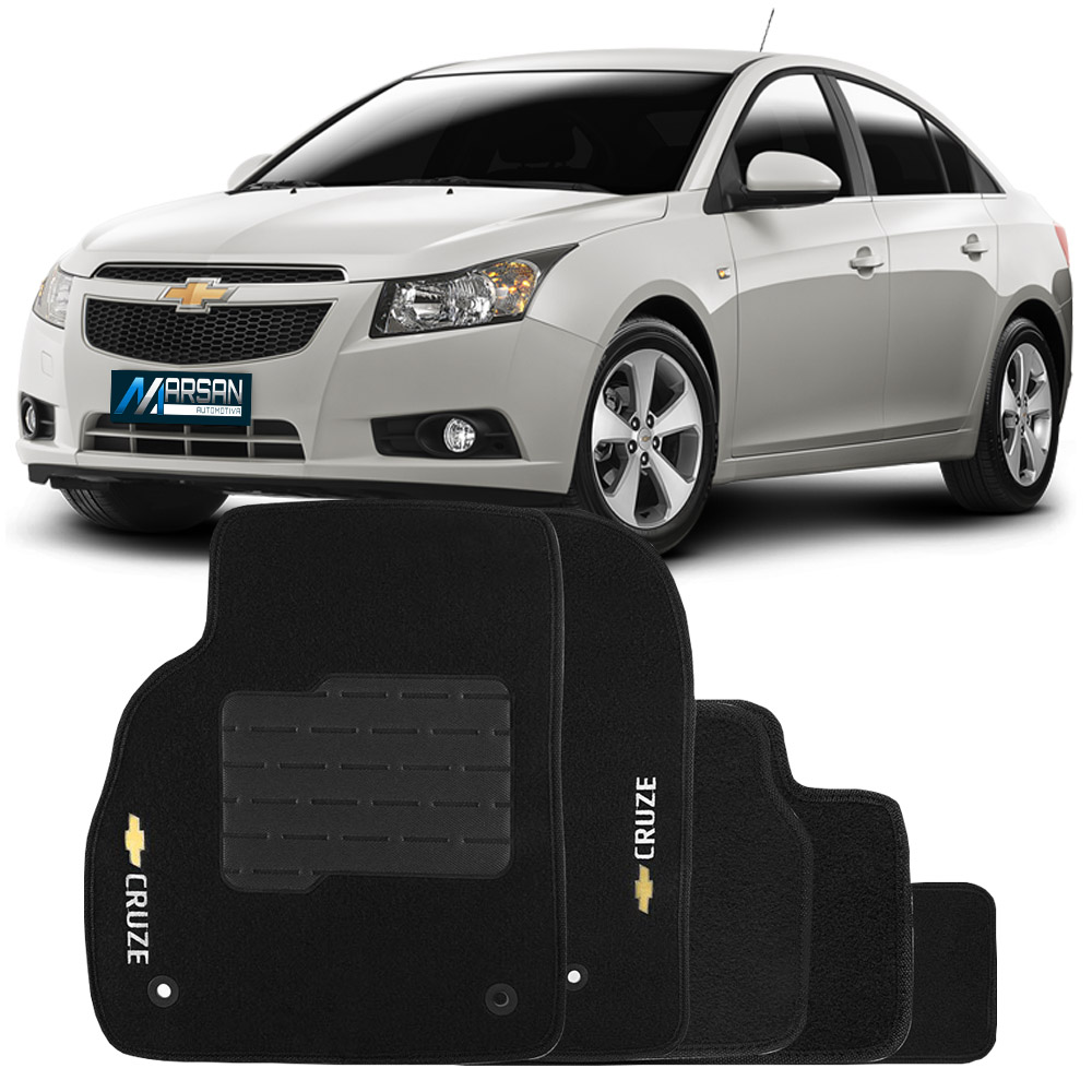 Tapete Carpete Preto (Bordado Logo e Modelo) Cruze Hatch 2011 a 2015 Cruze Sedan 2011 a 2015
