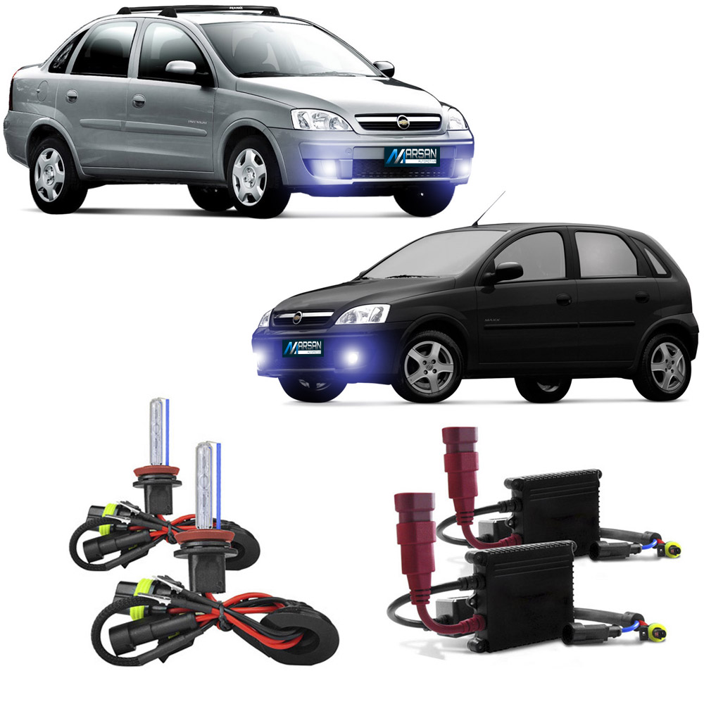 Kit Xenon H3 8000K Para Farol Milha Corsa Hatch 2003 a 2012 Corsa Sedan 2003 a 2012 Meriva 2003 a 2012 Montana 2003 a 2015