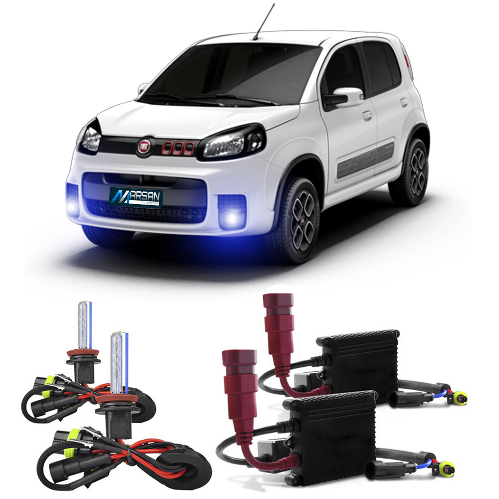 Kit Xenon H1 8000K Para Farol Milha Uno Attractive - Uno Evolution - Uno Sporting - Uno Vivace - Uno Way 2010 a 2015