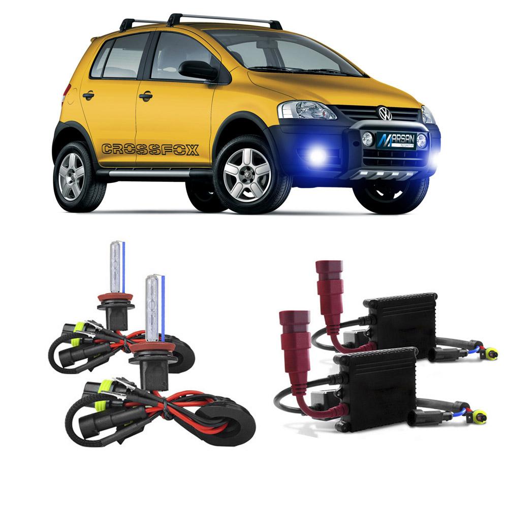 Kit Xenon H3 8000K Para Farol Milha Fox 2004 a 2009 Crossfox 2005 a 2010 Spacefox 2006 a 2010