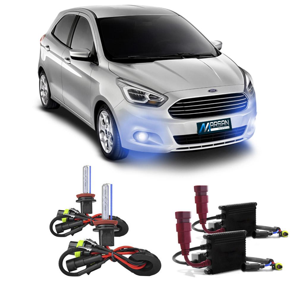 Kit Xenon H11 8000K Para Farol Milha Ford KA 2014 a 2016