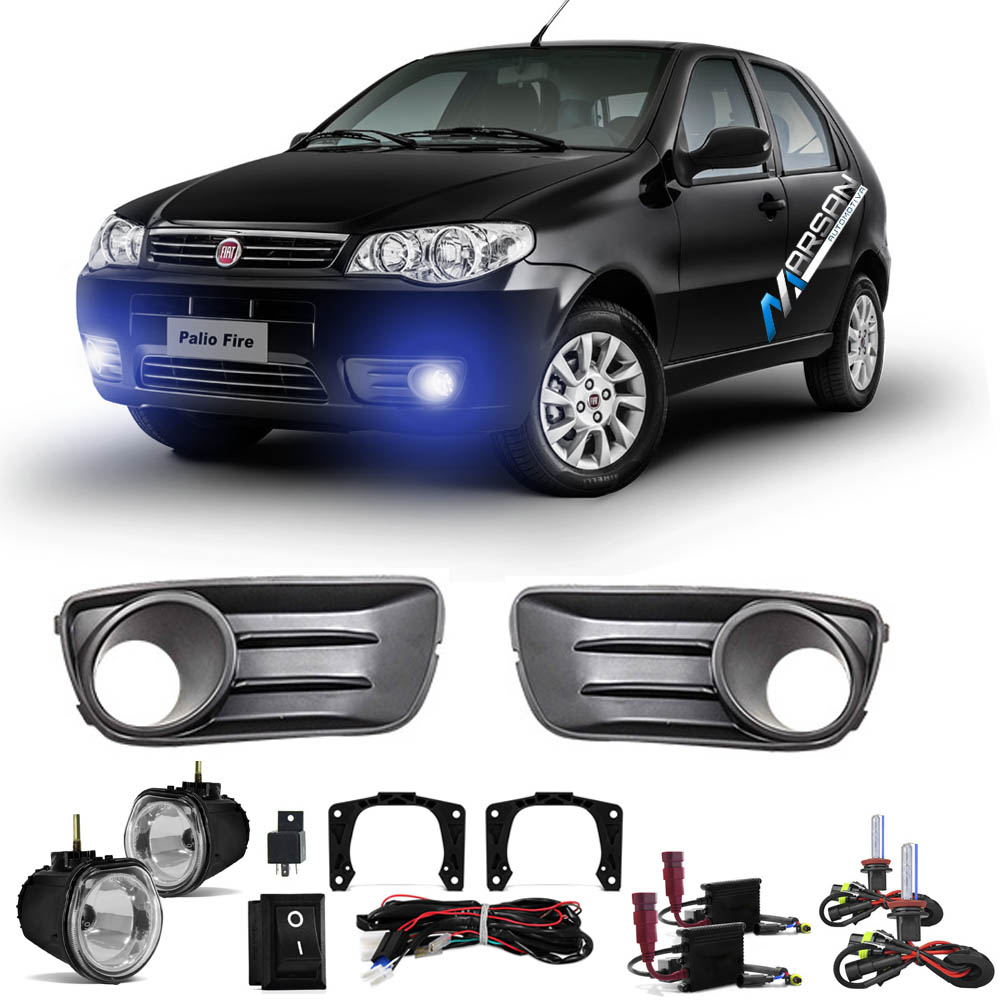 Kit Farol de Milha + Xenon 8000K Palio Economy 2010 a 2011 Siena Economy 2010 a 2011