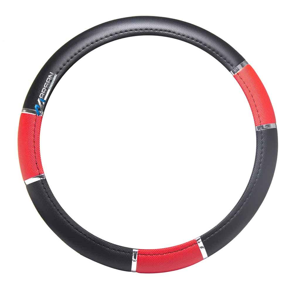 Capa Protetora Volante Sport Preta - Vermelha com Anel Cromado
