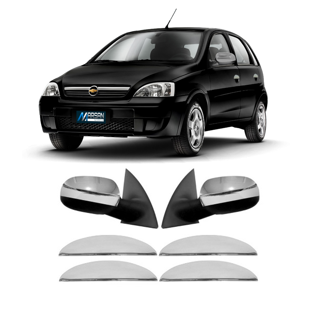 Kit Aplique Cromado Maçaneta e Retrovisor Corsa Hatch - Sedan 2002 a 2012