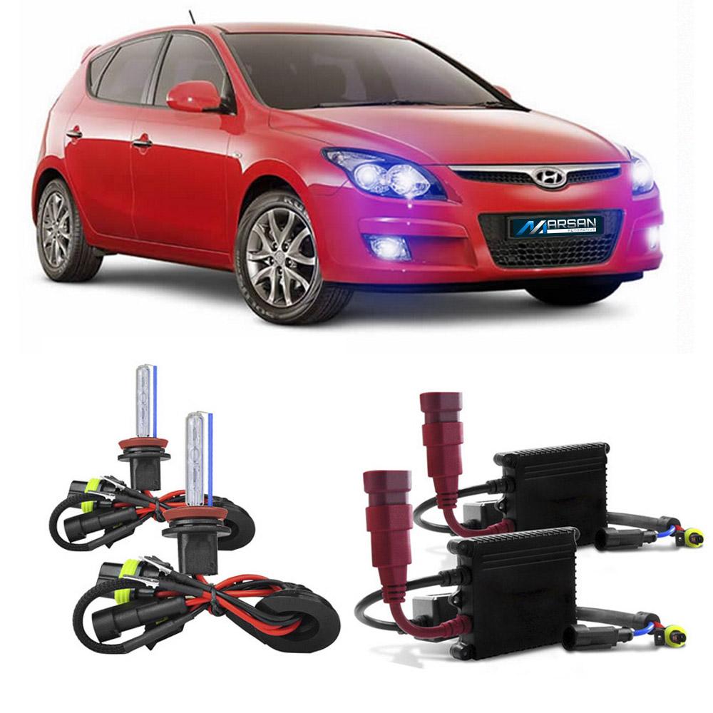Kit Xenon Lampada 8000K Para Farol Alto Baixo e Farol Milha i30 2010 a 2013