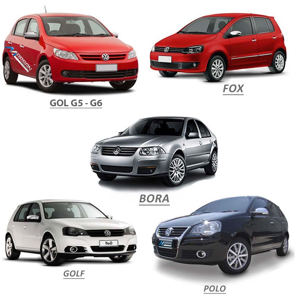 Aplique Cromado Maçaneta Externa Gol Voyage G5 G6 2008 a 2016 Fox 2003 a 2009 Polo 2004 a 2009 Golf 1999 a 2007 Bora 2000 a 2009 (4 Portas)