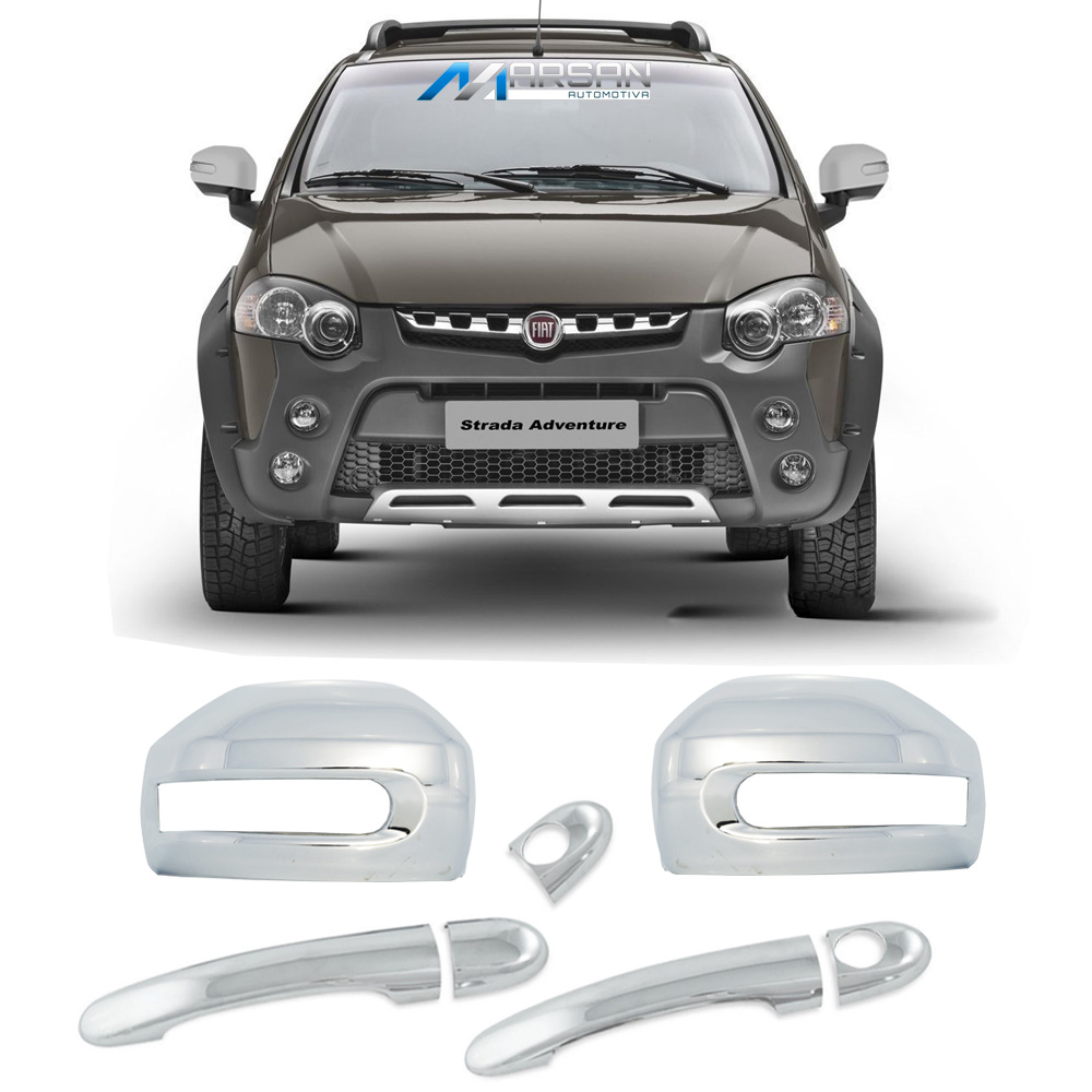 Kit Aplique Cromado Maçaneta e Retrovisor Strada Adventure Locker 2008 a 2015