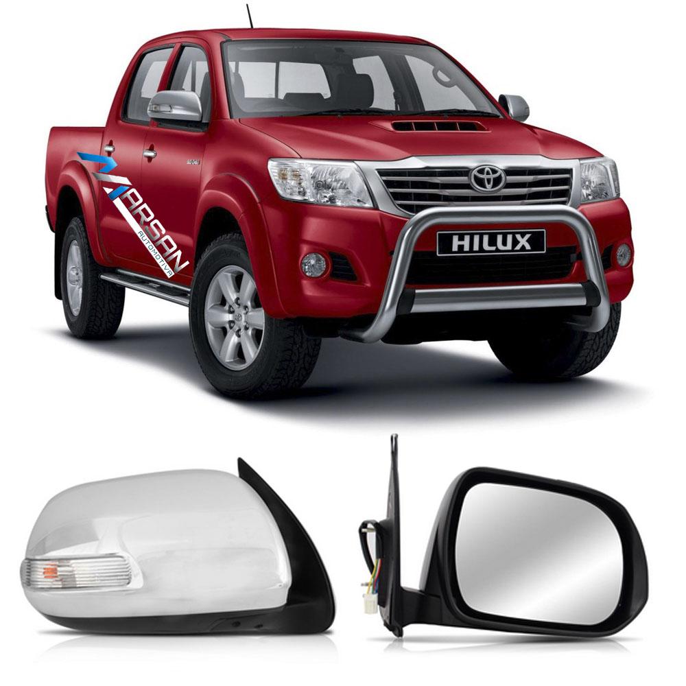 Retrovisor Hilux SR - SRV 2012 a 2015  Eletrico com Pisca e Capa Cromada