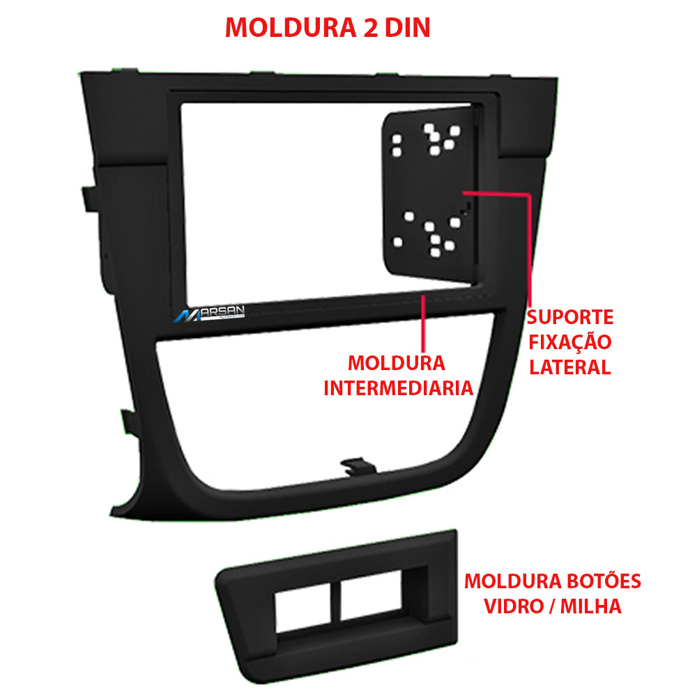 Moldura 2 DIN Painel Central Radio DVD Gol Saveiro Voyage G5