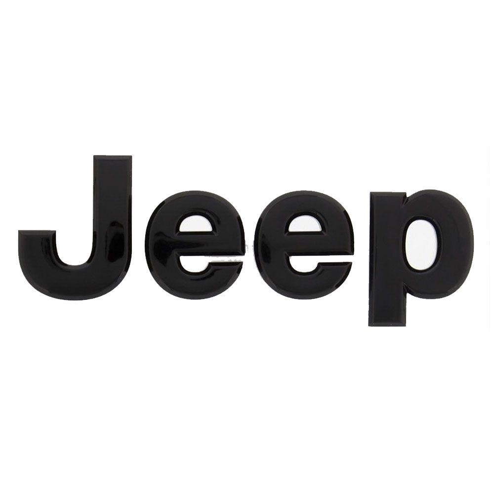Emblema Capô Letreiro Jeep Renegade 2016 Até 2020 Preto