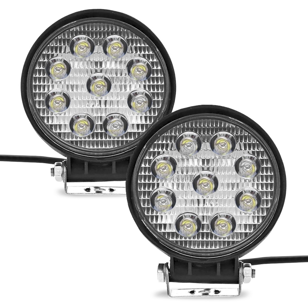 Par Farol Auxiliar Milha Redondo 9 LEDs 12/24V 2400 Lumens 27W 6000K  Jeep Troller Pick-Up