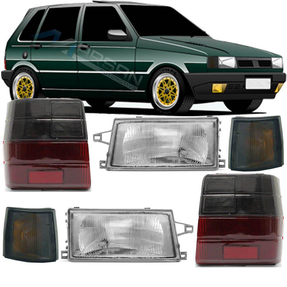 Farol C/ Pisca e Lanterna Fume Uno Mille 1991 1992 até 2003