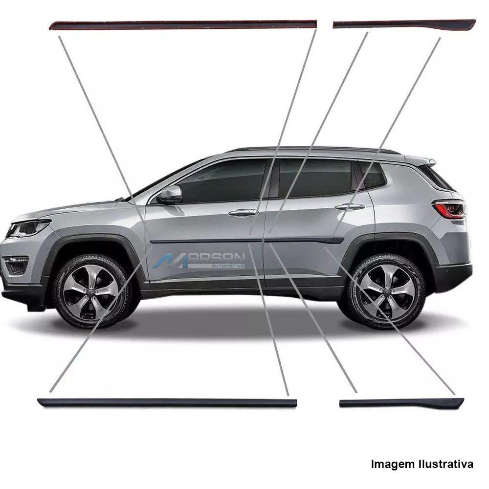 Friso Preto Lateral Borrachão Jeep Compass 2017 Até 2020