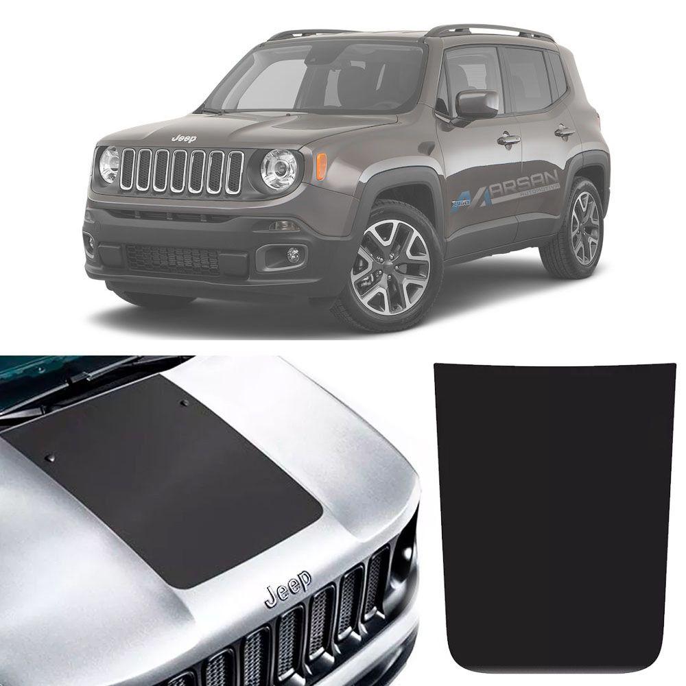 Kit Adesivo Preto Fosco e Emblema Cromado Capô Jeep Renegade 2016 Até 2020