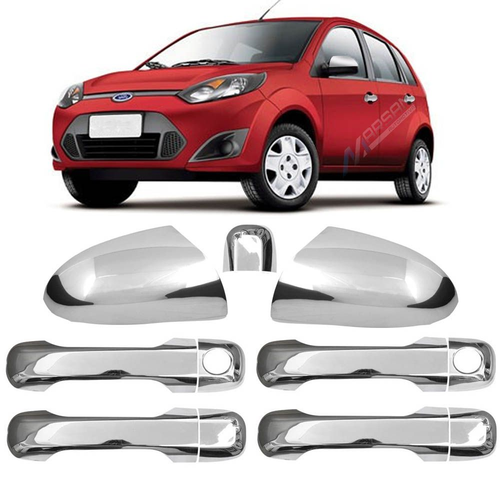 Kit Aplique Cromado Maçaneta e Retrovisor Fiesta Hatch 2002 a 2013 Fiesta Sedan 2002 a 2013