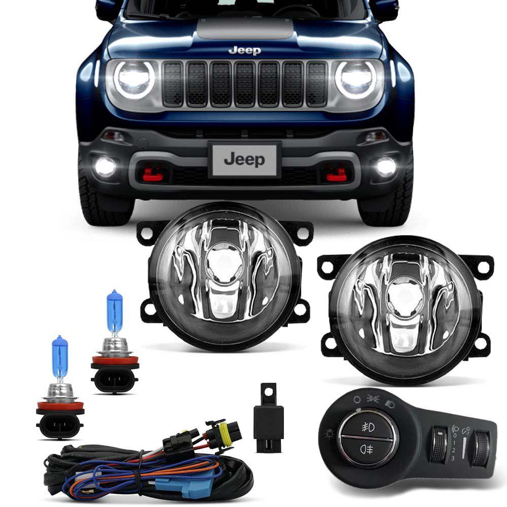 Kit Farol Milha Jeep Renegade 2019 2020 Botão Mod. Original