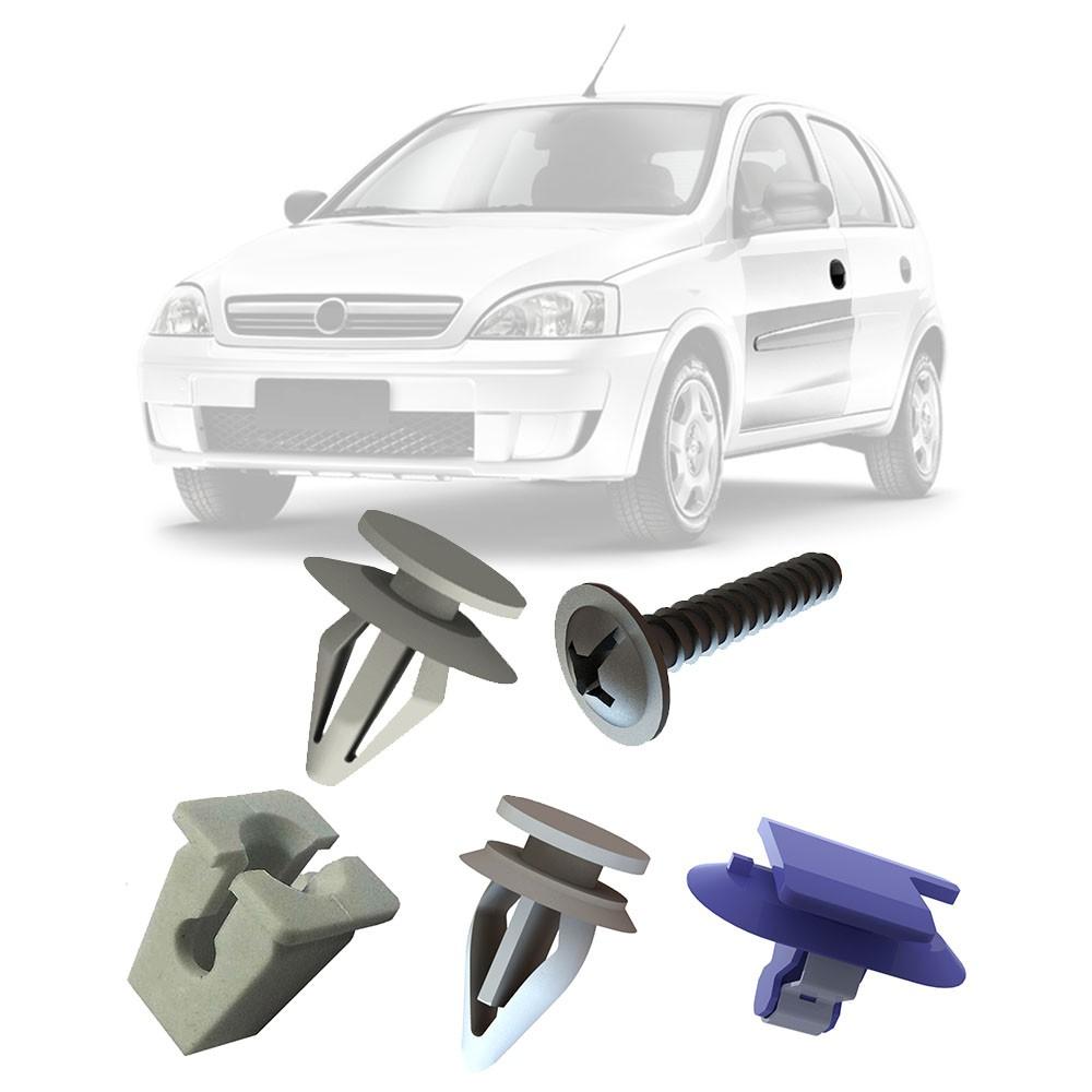 Kit Fixação Grampo Presilha Parafuso do Forro da Porta Dianteira Corsa Hatch Sedan 2002 a 2012 Montana 2004 a 2011