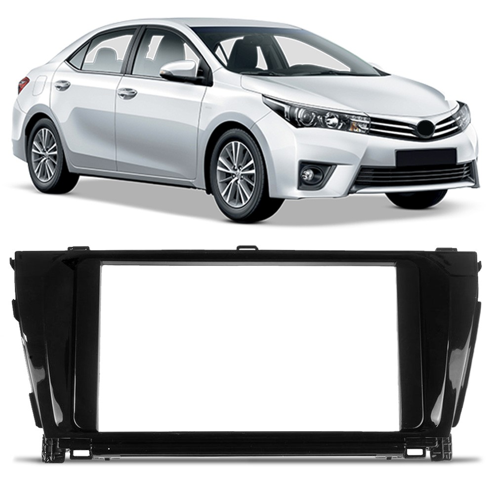 Moldura 1 e 2 Din Black Piano Multimidia Som DVD MP5 Corolla 2015 a 2017