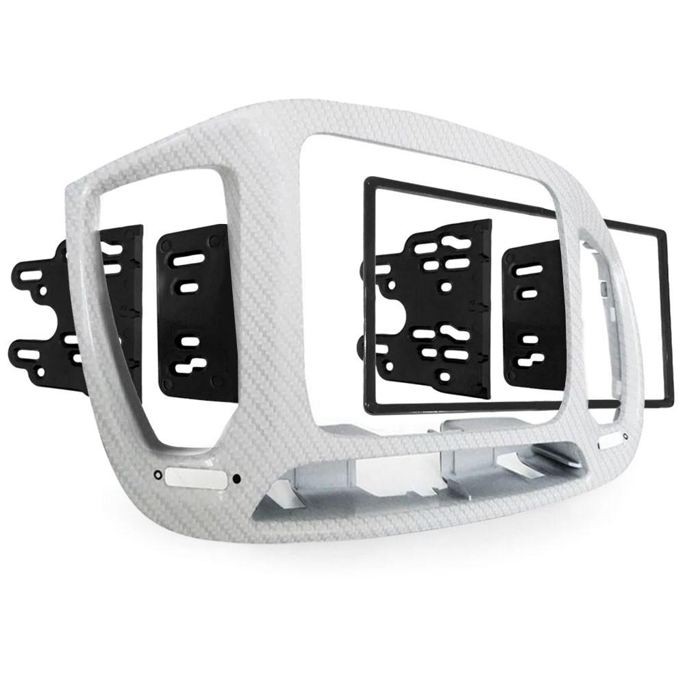 Moldura 2 Din Fibra de Carbono Branca Multimidia Som DVD Novo Uno 2015 a 2021