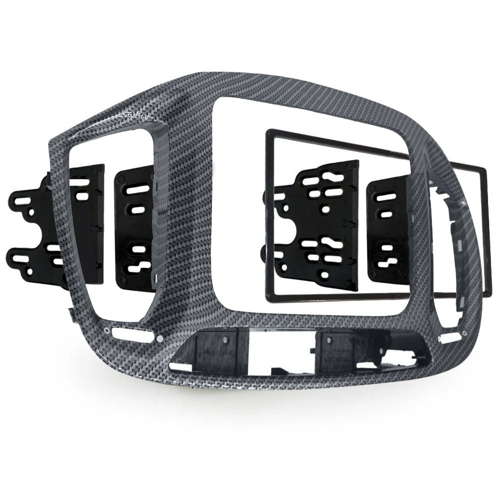 Moldura 2 Din Fibra de Carbono Grafite Multimidia Som DVD Novo Uno 2015 a 2021