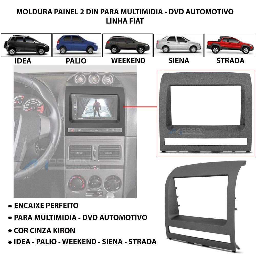 Moldura 2Din Cinza Multimidia Palio Siena Idea Strada Adventure
