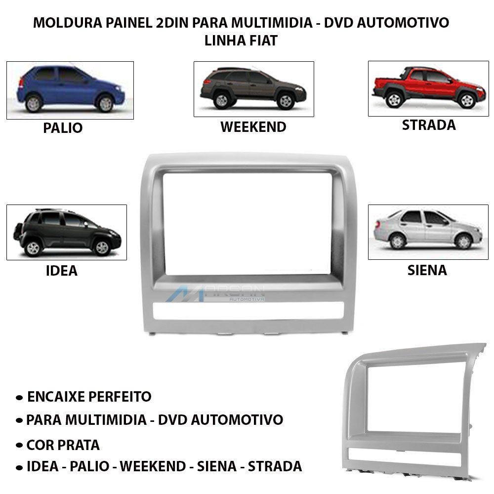 Moldura 2Din Prata Multimidia Palio Siena Idea Strada Adventure