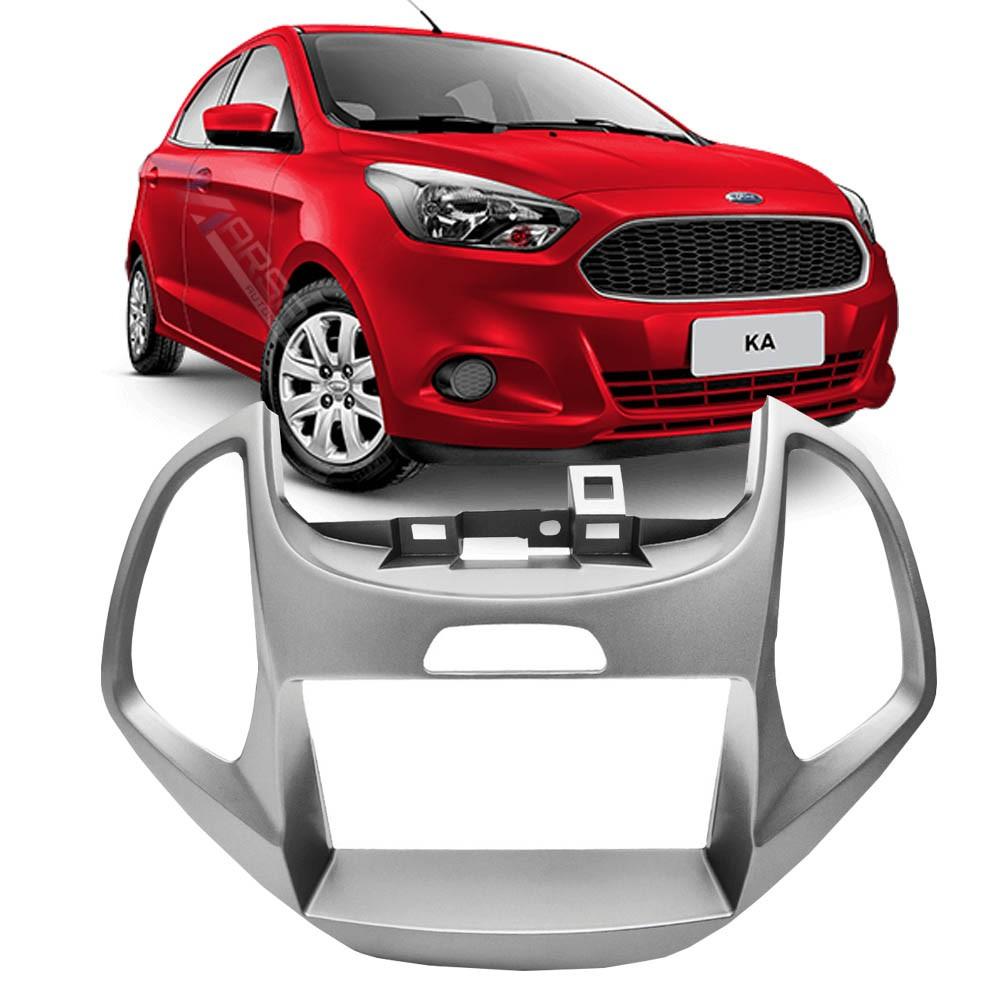 Moldura Prata 2DIN DVD Multimidia Ford Ka 2015 2016 2017