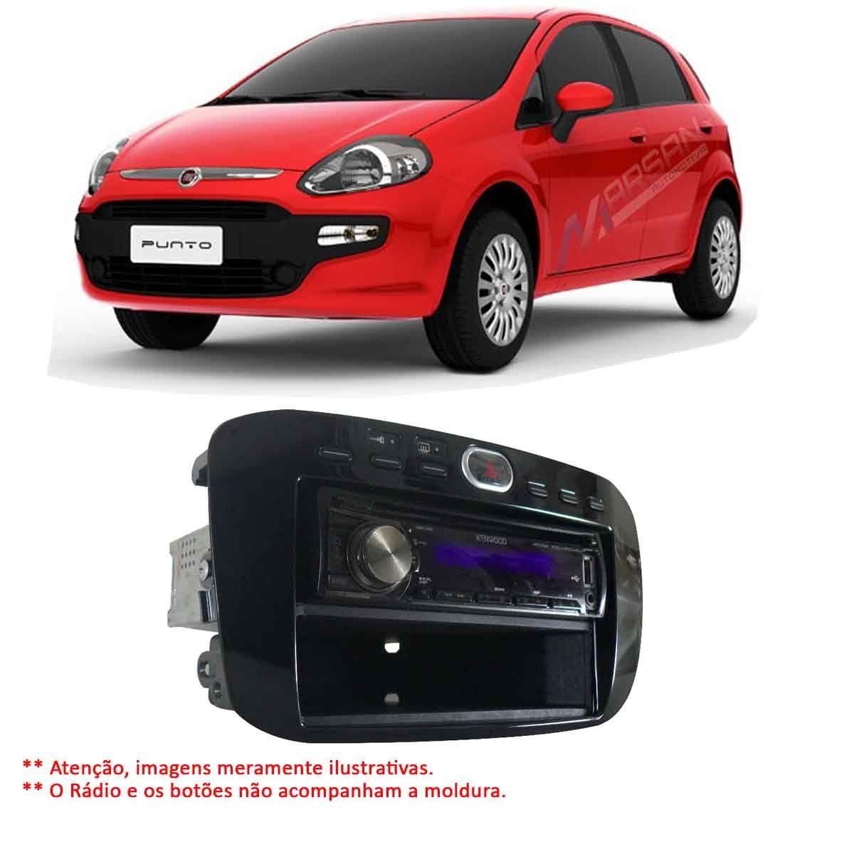 Moldura Preta 1DIN 2 DIN Radio Multimidia DVD Punto 13 a 17 Linea 15 a 16