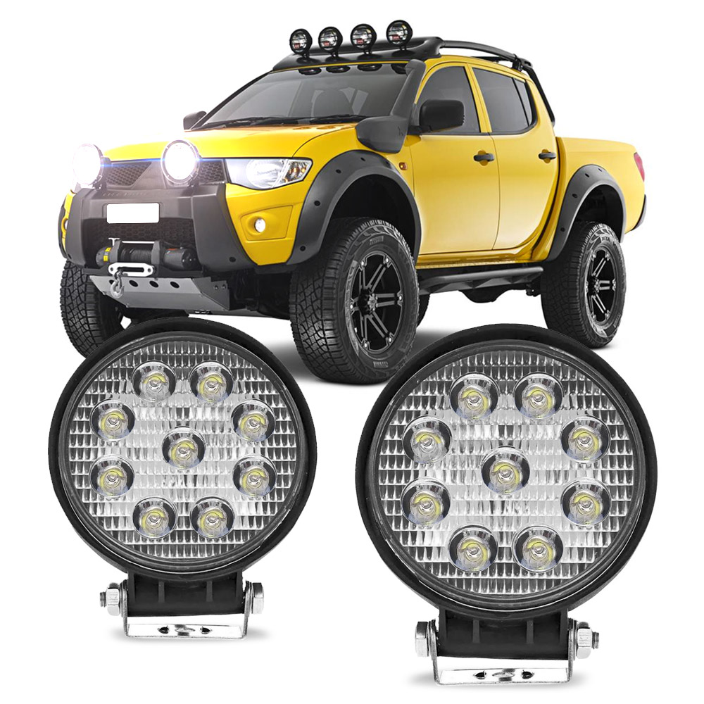Par Farol Auxiliar Milha Redondo 9 LEDs 12/24V 2400 Lumens 27W 6000K L200 Triton