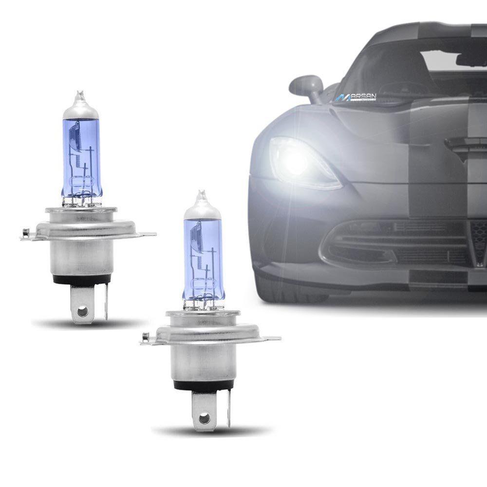 Par Lâmpada Super Branca H4 4300K 60/55W 12V Efeito Xênon