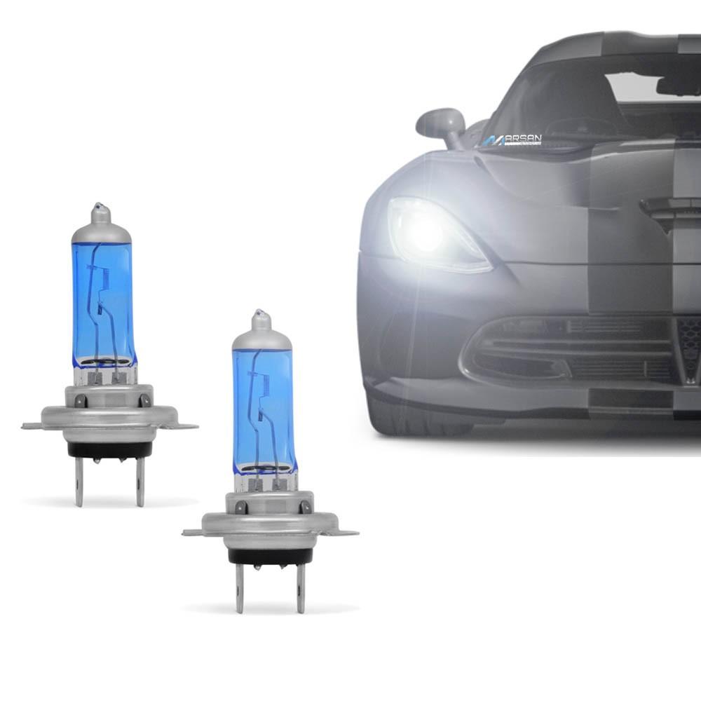 Par Lâmpada Super Branca H7 4300K 55W 12V Efeito Xênon