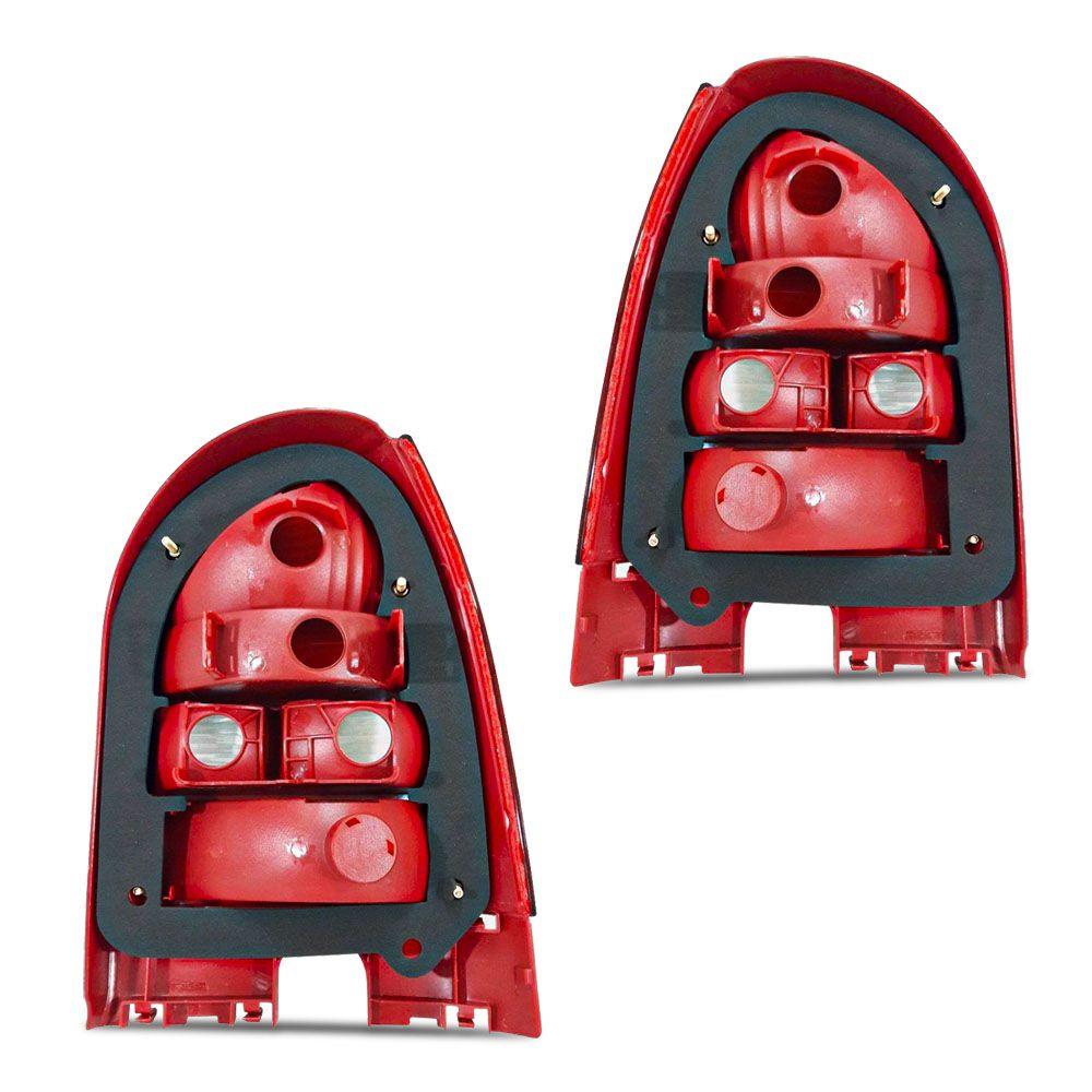 Par Lanterna Traseira Carcaça Vermelha Gol G3 1999 a 2005