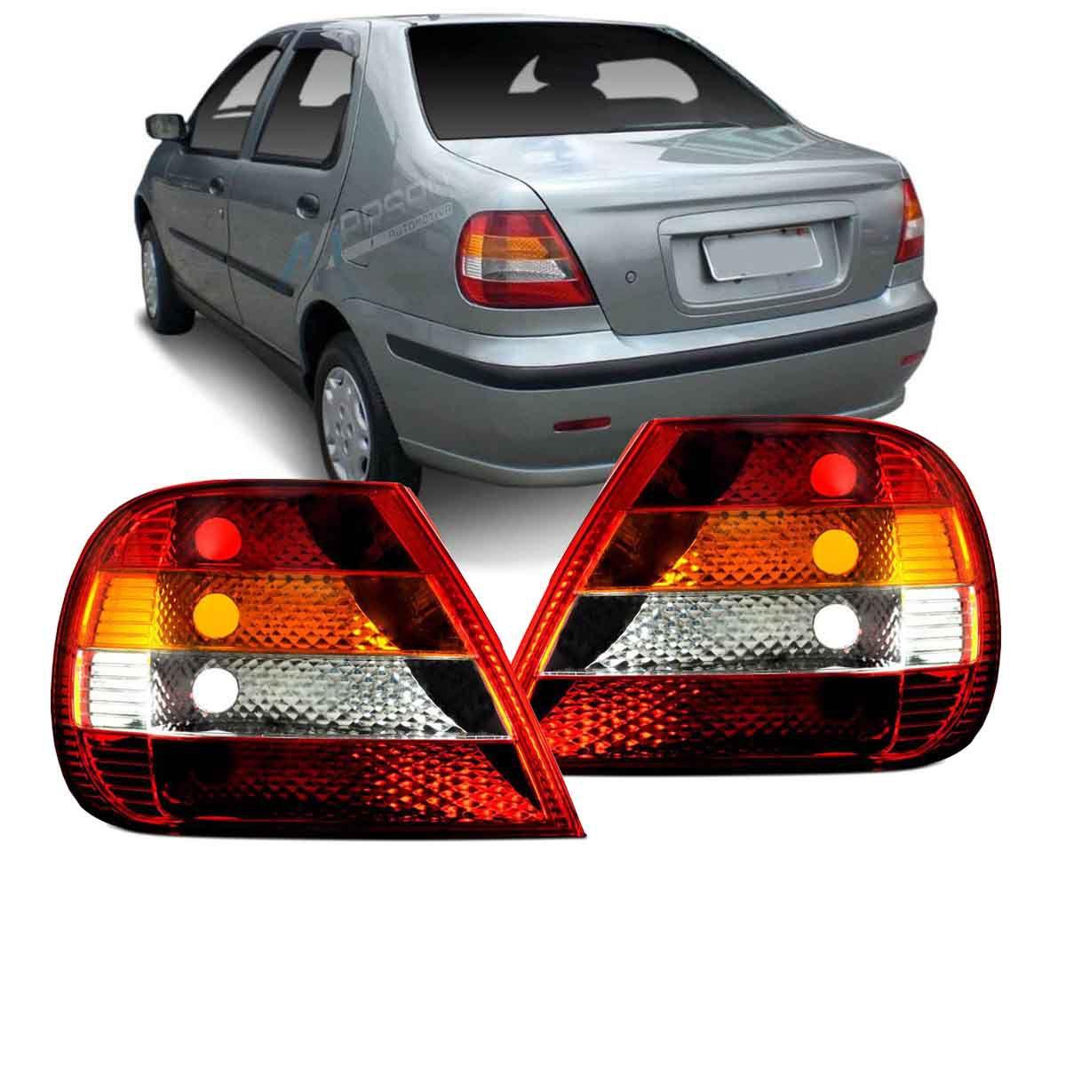 Par Lanterna Traseira Tricolor Fiat Siena 2001 2002 2003 2004 2005